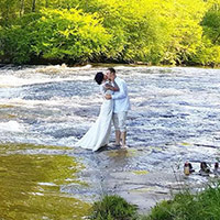 Bride and Groom in Enoree River